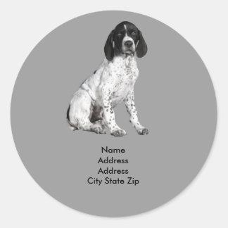 German Shorthaired Pointer Puppy Address Label Classic Round Sticker