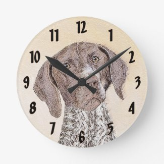 German Shorthaired Pointer Round Clock