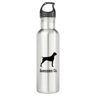 German Shorthaired Pointer Silhouette with Text Water Bottle