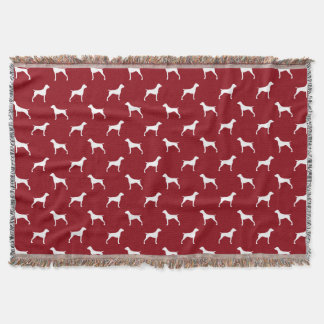 German Shorthaired Pointer Silhouettes Pattern Red Throw Blanket
