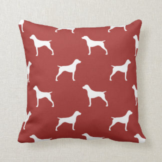 German Shorthaired Pointer Silhouettes Pattern Red Throw Pillow