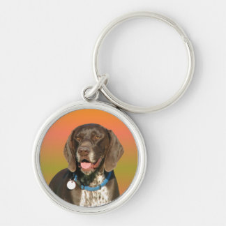 German Shorthaired Pointer Silver-Colored Round Keychain