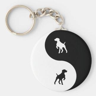 German Shorthaired Pointer Yin Yang Basic Round Button Keychain