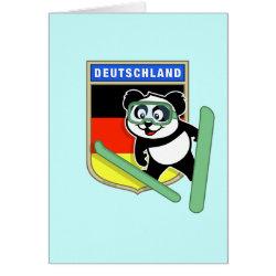 Note Card with German Ski-jumping Panda design