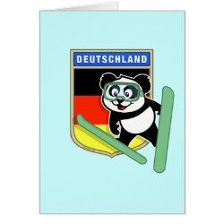 Note Card with German Ski-jumping Panda design