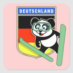 Square Sticker with German Ski-jumping Panda design