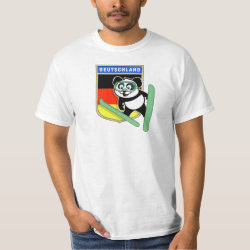 Men's Crew Value T-Shirt with German Ski-jumping Panda design