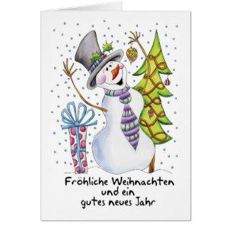 German - Snowman - Happy Snowman - Fröhliche Weihn Card