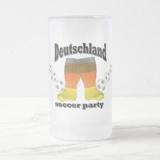 german soccer frosted glass beer mug