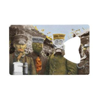 German Soldiers in Gas Masks Credit Card Bottle Opener