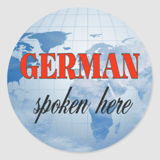 German spoken here cloudy earth classic round sticker