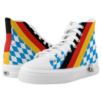 GERMAN STATE OF BAVARIA Flag Colors pattern High-Top Sneakers