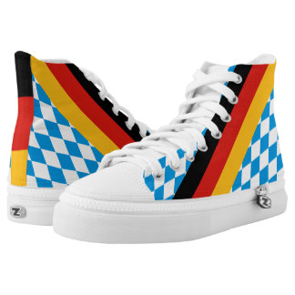 GERMAN STATE OF BAVARIA Flag Colors pattern High-Top Sneakers