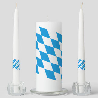 GERMAN STATE OF BAVARIA Flag Colors Unity Candle Set
