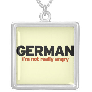 German Stereotype Square Pendant Necklace