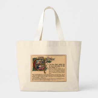 German Sunday School Card Large Tote Bag
