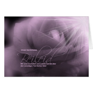 German Sympathy Loss of Father Lavender Rose Card