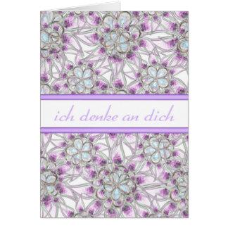 German Thinking of You Flower Card w/ Blank Inside