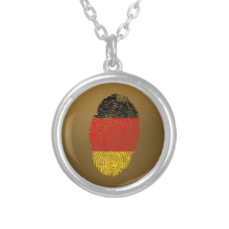 German touch fingerprint flag silver plated necklace