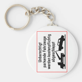 German Tow-Away Zone Sign Basic Round Button Keychain