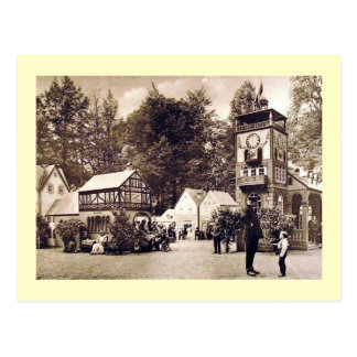 German Town Scene, Policeman and Boy Vintage Postcard