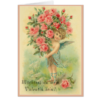 German Valentines Day Angel with Roses Card