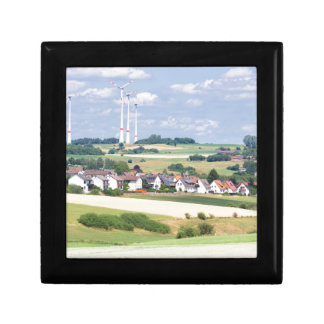 German village houses windmills and corn fields keepsake box