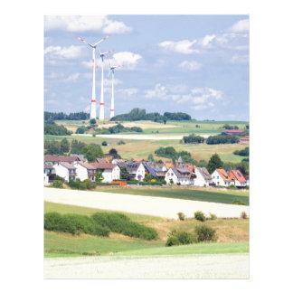German village houses windmills and corn fields letterhead