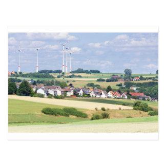 German village houses windmills and corn fields postcard