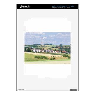 German village houses windmills and corn fields skin for iPad 3