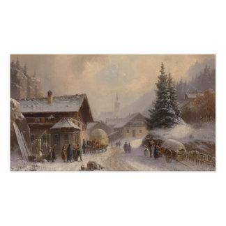 German Village in Winter Business Card Template