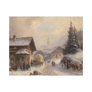German Village in Winter Canvas Print