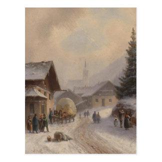 German Village in Winter Postcard