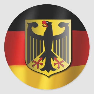 German waving flag classic round sticker