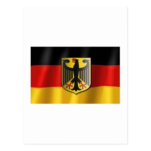 German waving flag postcard