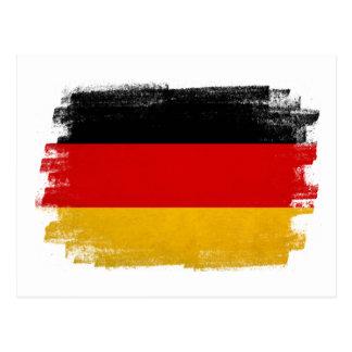 German wax pencil sketched flag postcard