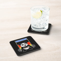 Beverage Coaster with German Weightlifting Panda design