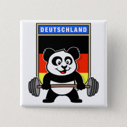 Square Button with German Weightlifting Panda design