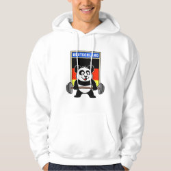 Men's Basic Hooded Sweatshirt with German Weightlifting Panda design