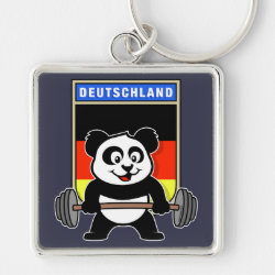 Premium Square Keychain with German Weightlifting Panda design
