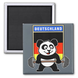Square Magnet with German Weightlifting Panda design