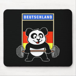 Mousepad with German Weightlifting Panda design