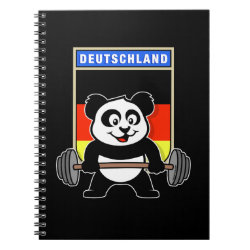 Photo Notebook (6.5' x 8.75', 80 Pages B&W) with German Weightlifting Panda design