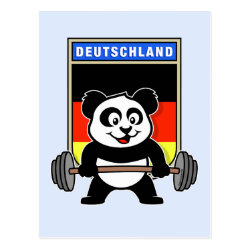 Postcard with German Weightlifting Panda design