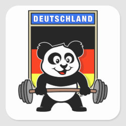 Square Sticker with German Weightlifting Panda design