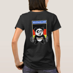 Women's Basic T-Shirt with German Weightlifting Panda design