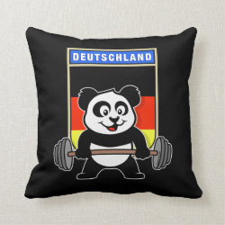 Cotton Throw Pillow with German Weightlifting Panda design