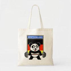 Budget Tote with German Weightlifting Panda design