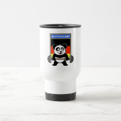 Travel / Commuter Mug with German Weightlifting Panda design