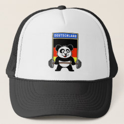 Trucker Hat with German Weightlifting Panda design